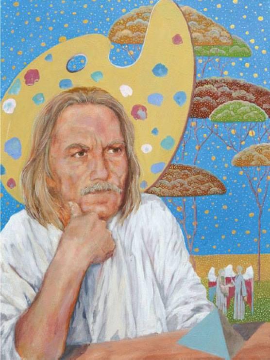 """Jerzy Plucha - """"Autoportret"""", 2010 r., 40x60cm, obraz na płótnie, technika własna."""