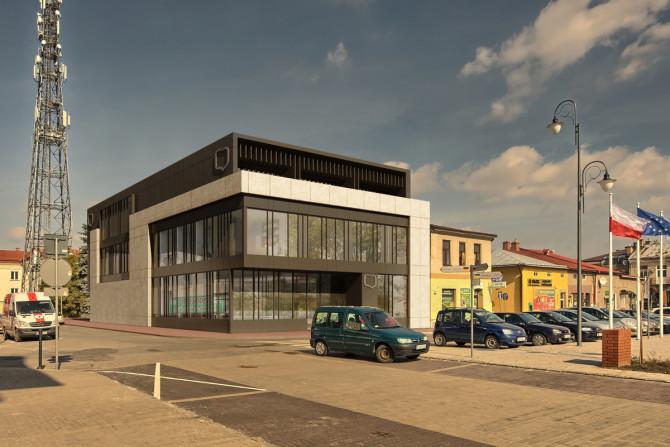 Wizualizacja nowej siedziby Banku Spółdzielczego w Lubaczowie.